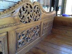 Hand carved wooden Indonesian Day Bed
