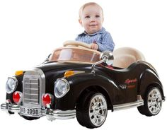 Trademark Global Lil' Rider Battery-Operated Classic Car with Remote - Black