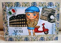 Winter Yumi is visiting Rome by Blankina, tutorial stamping background stamps ( masking )