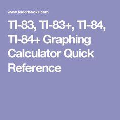 TI-83, TI-83+, TI-84, TI-84+ Graphing Calculator Quick Reference