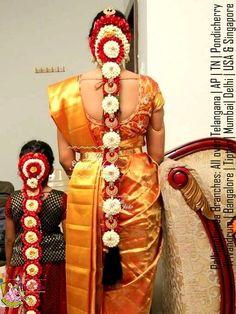 Vijayawada bride and bridesmaids wearing pelli poola jada Bridal Hairstyle Indian Wedding, South Indian Bride Hairstyle, Bridal Hair Buns, Indian Wedding Hairstyles, Bride Hairstyles, Bridesmaid Saree, Brides And Bridesmaids, Wedding Saree Collection, Bridal Collection