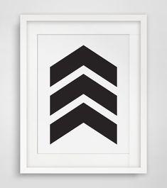 Black Chevrons Chevron Wall Art Black and von MelindaWoodDesigns