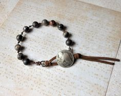 Rustic canyon marble beaded bracelet with Buffalo Nickle closure.  Jewelry from The Mermaid Apothecary via etsy.com