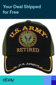 43cf93bde2f US ARMY RETIRED ROUND SIDE LINE BALL CAP HAT OLIVE BLACK