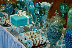 Great for a winter wonderland wedding candy buffet.
