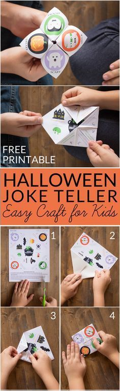 Halloween Joke Tellers for Kids - Make easy Halloween cootie catchers with your kids for a delightful Halloween treat that focuses on fun not sugar or candy. Free printable Halloween craft for kids. Halloween fortune Tellers. Healthy Halloween treat for kids. via @brendidblog
