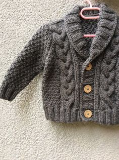 Grey Knitted Baby Cardigan, Baby Boy Cable Sweater Coat, Cute Hand Knit Newborn Boy Coming Home Outfit Clothes, New Born Baby Knitwear, Gift Knit Baby Sweater Hand Knitted Grey Baby Cardigan by Istanbulknit Cardigan Bebe, Baby Boy Cardigan, Knitted Baby Cardigan, Knit Baby Sweaters, Knitted Coat, Baby Vest, Cotton Sweater, Baby Baby, Sweater Cardigan