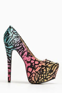 Bumper Multicolored Almond Toe Point Heels