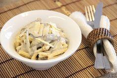 THERMOMIX: Casareccia com filé mignon e cogumelos