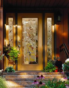 Door with Two Sidelites - Exterior Doors Stained Glass Door, Stained Glass Panels, Leaded Glass, Sliding Glass Door, Glass Doors, Pooja Room Door Design, Main Door Design, Custom Glass, Front Door Decor