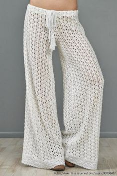 Free Pattern – Crochet Pants for Spring/Summer weather>>> I'd cinch the bottoms of the legs. No tripping.