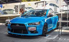 Mitsubishi Lancer Evo blue