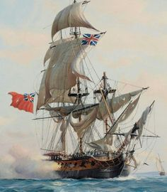 """The capture of the French ship Reunion' by the 'HMS Crescent', October by Derek George Montague Gardner (Detail of HMS Crescent). Bateau Pirate, Old Sailing Ships, Classic Sailing, Ship Of The Line, Man Of War, Nautical Art, Tug Boats, Armada, Navy Ships"