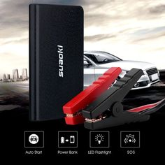 Amazon.com: Suaoki U2 400A Peak Car Jump Starter 8000mAh Portable Battery Booster Power Bank with Intelligent Clamps and LED Flashlight Perfect for Automotive Truck Motorcycle Boat: Automotive