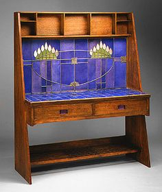 Charles Rennie MacIntosh - Washstand, 1904. Charles Rennie Mackintosh made his reputation at the turn of the last century as a Scottish architect and designer of great originality. the brilliantly colored backsplash depicting geometrically abstracted flowers also recalls German and Austrian Jugendstil designs from the same period.