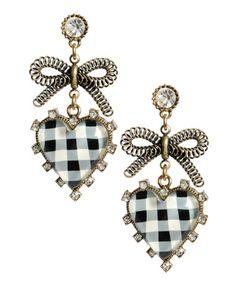 Betsy Johnson Checked Heart Tied Bow Earrings <3<3