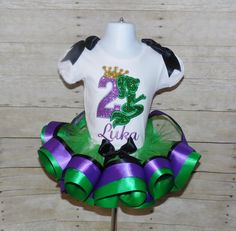 Mermaid Princess ribbon trim tutu set Mermaid by MommaMays on Etsy