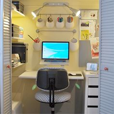 A miniature office created from a spare closet. #dwellinggawker