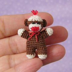 PDF Pattern To Crochet a Miniature Baby Sock Monkey. Christmas ornament!! Look how tiny that is!!