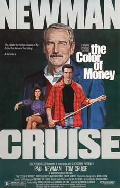 """Director Martin Scorsese's """"The Color of Money"""" a sequel to director Robert Rosen's """"The Hustler"""" Paul Newman at last won his Best Actor Oscar again playing Fast Eddie Felson; joined by Tom Cruise. Martin Scorsese, Paul Newman, Tom Cruise, Great Films, Good Movies, 80s Movies, Throwback Movies, Oscar Movies, Awesome Movies"""