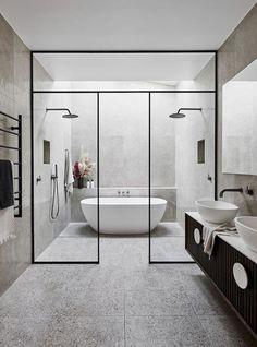 The Block& Alisa and Lysandra are renovating a historic home - - .- Die Block's Alisa und Lysandra renovieren ein historisches Haus – – The Block& Alisa and Lysandra are renovating a … - Modern Master Bathroom, Modern Bathroom Design, Bathroom Interior Design, Small Bathroom, Wet Room Bathroom, Bathroom Showers, Bathroom Designs, Bathroom Faucets, Bathtub In Shower