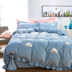 3/4pcs Christmas bedding set twin king queen size upgraded flannel towel embroidery clouds duvet cover bedspread pillowcases