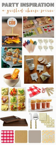 a grilled cheese party inspiration board via MINT LOVE SOCIAL CLUB
