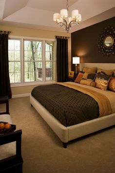 Master Bedroom Paint One side Wall...i like the dark color then the lighter ones Luv the chocolate accent wall!