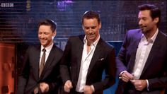 "Then the three of them would surrender to the rhythm. | Watch Hugh Jackman, Michael Fassbender And James McAvoy Dance To ""Blurred Lines"""