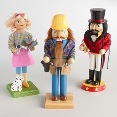 Hard at work and handsome on display, our trio of handcrafted nutcrackers includes a construction worker, circus ringmaster and dog groomer. Add these industrious, charmingly detailed pieces to your holiday decor for a fun, festive feel.