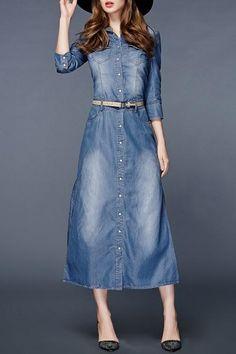 Dezzal - Dezzal Belted Denim Dress - AdoreWe.com