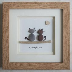 Pebble Art framed Picture Cats Purrfect