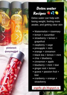 Detox water is any infused water recipe that helps flush your system of toxins and improves your health.Some detox water recipes have beneficial ingredients Healthy Water, Healthy Detox, Healthy Smoothies, Easy Detox, Vegan Detox, Healthy Weight, Green Smoothies, Healthy Juices, Healthy Skin Tips