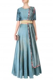 Autumn Flared Lehenga Skirt With Rosette Motifs Embroidered Blouse And Leather Belt