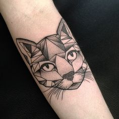"Aston Reynolds on Instagram: ""Geometric cat tattoo from the other day."