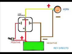 Relay Wiring Diagram For Air Horns Trailer Light Wiring, Electrical Diagram, Electrical Wiring, Car Horn, Boat Battery, Car Audio Installation, Diagram Design, Electrical Projects, Garage Organization