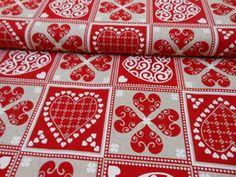Tkanina dekoracyjna bawełna serca patchwork - cena 31 zł