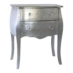 metallic silver wooden side table with 2 drawers 24 x 28 in bargu mango wood side table