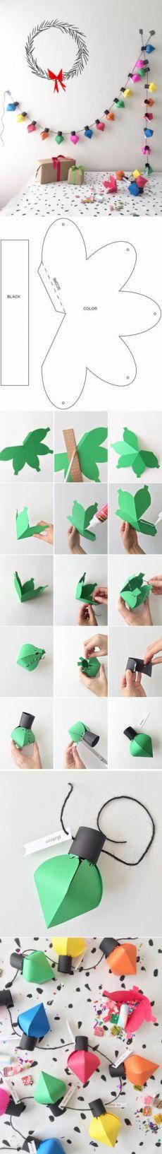 I love creative ❤ Christmas Paper Crafts, Christmas Projects, Holiday Crafts, Holiday Fun, Christmas Crafts, Christmas Decorations, Diy And Crafts, Crafts For Kids, Lightbulbs