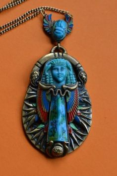 Max Norbert Neiger 1920 30's Egyptian Revival Pendant Rolled Gold Chain