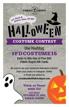 Don't miss out on the chance to win a $50 gift certificate in our Handmade Halloween Costume Contest
