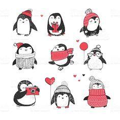 penguins la main dessiné ensemble-Joyeux Noël cartes de vœux stock vecteur libres de droits libre de droits