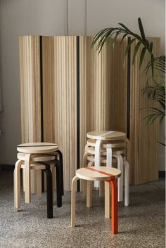 A Cool and Special Edition of the Finnish Design Classic by Alvar Aalto – The Artek Aalto Stool 60 Publics Modern Architecture House, Chinese Architecture, Futuristic Architecture, Modern Houses, Home Furniture, Furniture Design, Architectural Columns, Alvar Aalto, Cool Chairs