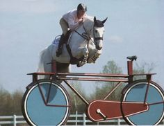 Holy crap… Captain Canada (Ian Millar), and the all-too-famous Spruce Meadows bicycle jump…. it even has the seat!!! THIS PHOTO EMBODIES CANADIAN SHOW JUMPING ENTIRELY.