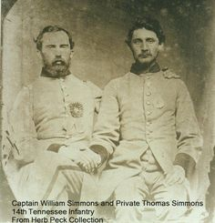 Capt. Wm. Simmons (R) and Cpl. Thomas H. Simms, 14th Tennessee Infantry, Co. C. Thomas received a gunshot wound to the leg at Gettysburg, July 3, 1863. He would die July 27, 1863 from the wound.