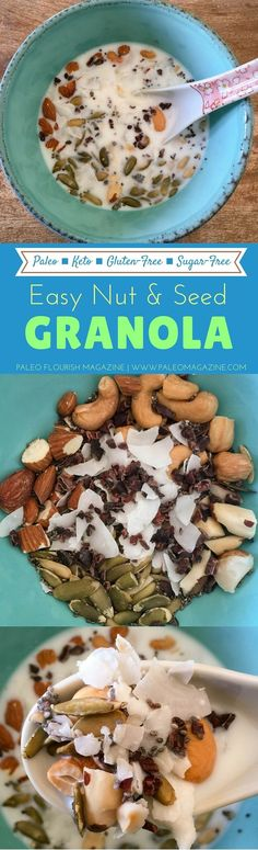 Easy Nut & Seed Granola (Keto, Paleo, Gluten-Free, Sugar-Free) #paleo #recipe #glutenfree http://paleomagazine.com/easy-nut-seed-granola-keto-paleo-gf-sugarfree