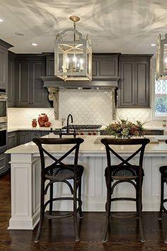 44+ Gray Kitchen Cabinets ( DARK or HEAVY ? ) - Dark, Light & Modern! Blue Gray Kitchen Cabinets, Light Gray Cabinets, Backsplash With Dark Cabinets, Grey Kitchen Island, White Kitchen Backsplash, Kitchen Cabinet Colors, Kitchen Colors, Backsplash Design, Kitchen Islands