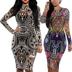 Women Plus Size Mesh Sheer Tattoo Tribal Print Bandage Bodycon Midi Party Dress