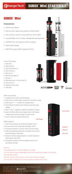 Authentic Kanger Subox Mini Starter Kit E Cigarette Kbox Mini Variable… Sub Box, Vape Smoke, Drip Tip, Ceramic Coating, Vape Juice, Starter Kit, Wells, Volkswagen, Mini