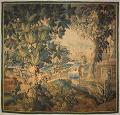 An 18th century Aubusson verdure tapestry panel
